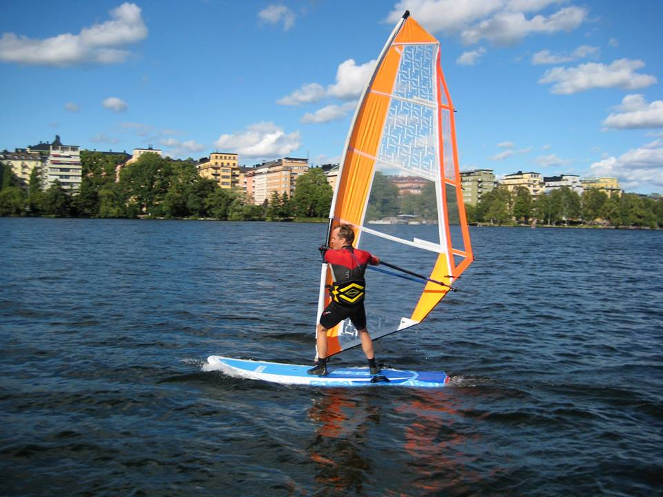 Dynamic Windsurfing city close up